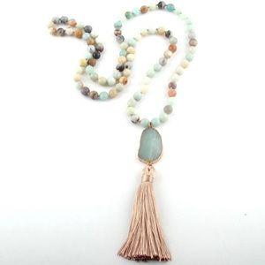 🆕🐬Boho Amazonite Pendant Necklace!!🏝🌸
